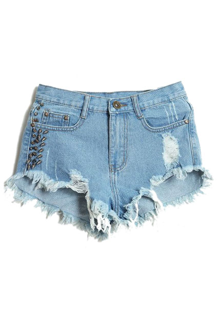 ROMWE | Riveted Distressed Broken Light Blue Shorts, The Latest Street Fashion