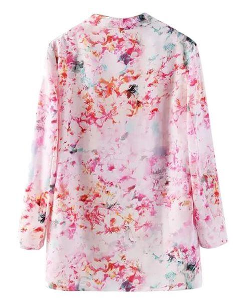 Pink Floral Lapel Kimono Coat