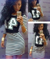 dress,zefinka,striped dress,cute dress,street dress,casual dress,bodycon dress,pretty,girly dress,outfit,selfie,stripes,black and white,black and white dress,casually outfit,casual outifit,strip,smart casual,smart dress,iphone,curvy