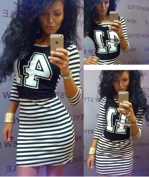 Dress Zefinka Striped Dress Cute Dress Street Dress Casual