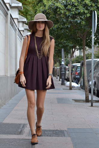 shoes beige hat purple pleated dress gold necklace brown handbag blogger brown oxford shoes