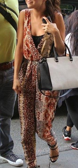 jumpsuit pattern african print aztec brown red romper beige