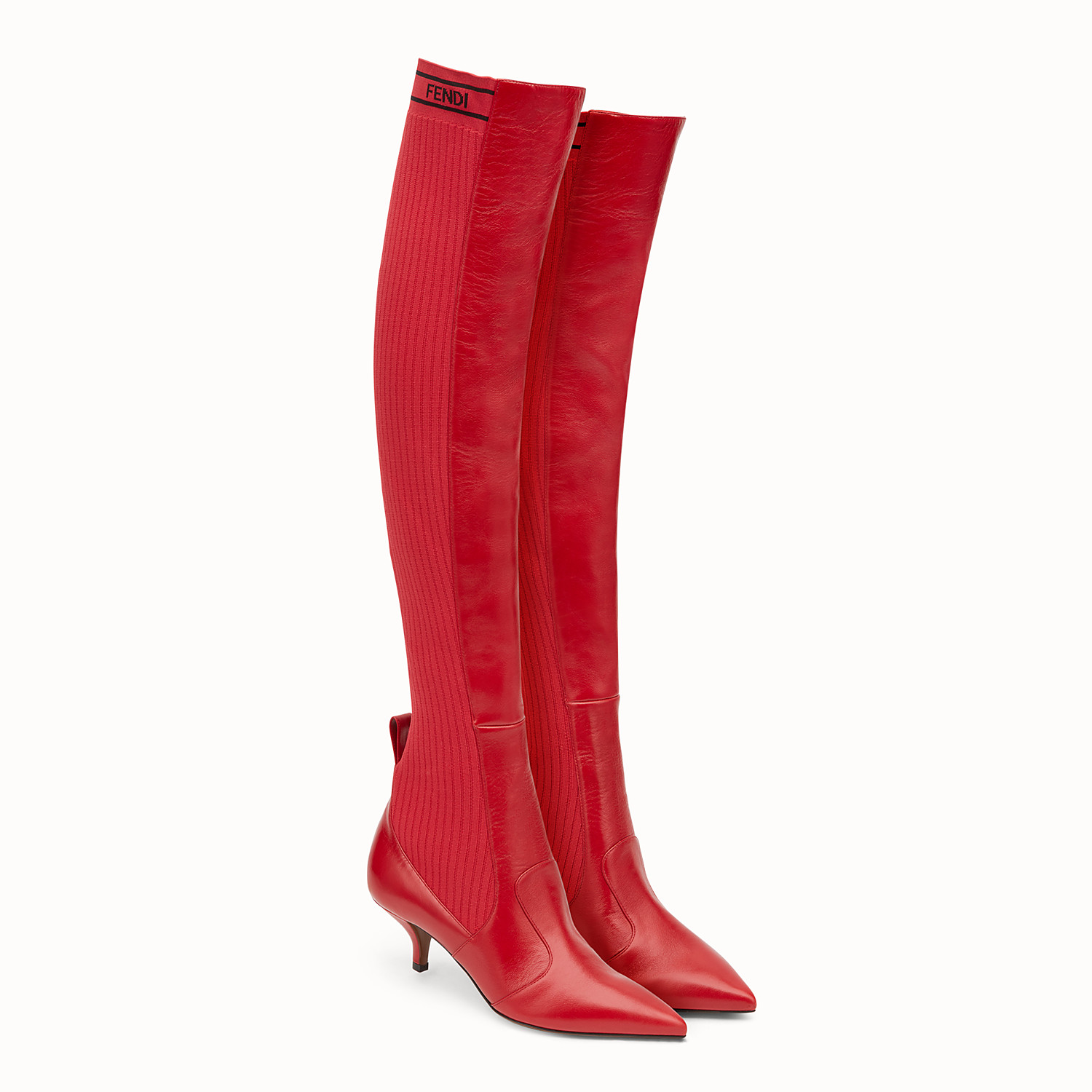 Red leather thigh-high boots - BOOTS | Fendi