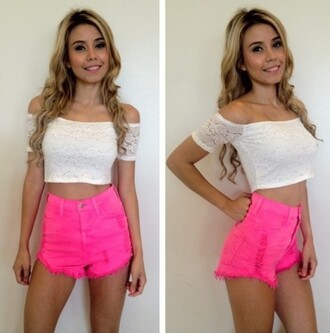 shorts neon top hot pink