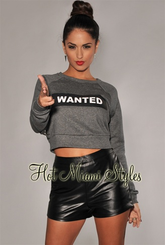 "Charcoal Gray ""WANTED"" Cropped Sweater Top"