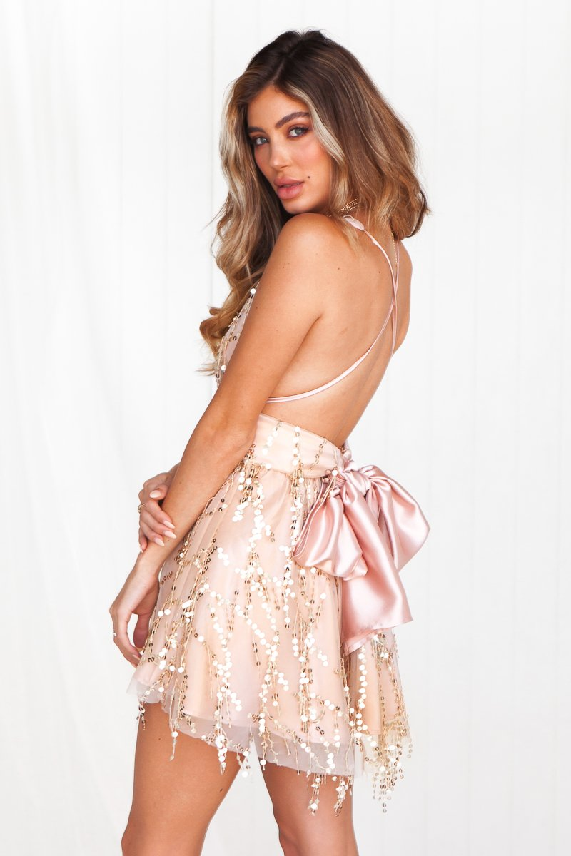 The Perfect Date Sequin Dress (Rose Gold)