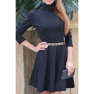 dress black fashion long sleeves turtleneck stylish turtleneck 3/4 sleeve pure color a-line dress for women trendy style fall outfits girly casual rose wholesale-dec