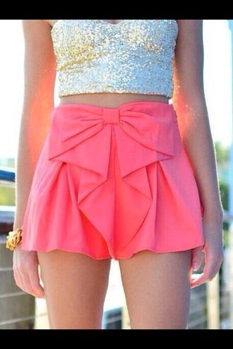shorts shorts bow skirt tank top gold crop top gold glitter crop top