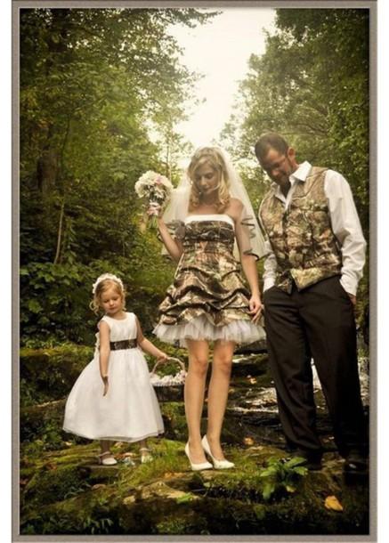 dress camo shirt short wedding party dress \
