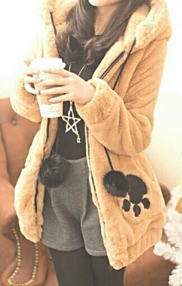 star jacket paw korean soft fluffy