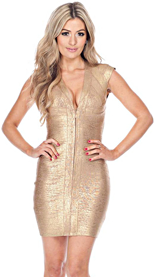 Woodgrain Foil Print Front Zip Bandage Dress Gold