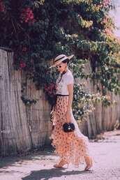 skirt,pink skirt,dots skirt,top,hat,shoes,sandals,bag