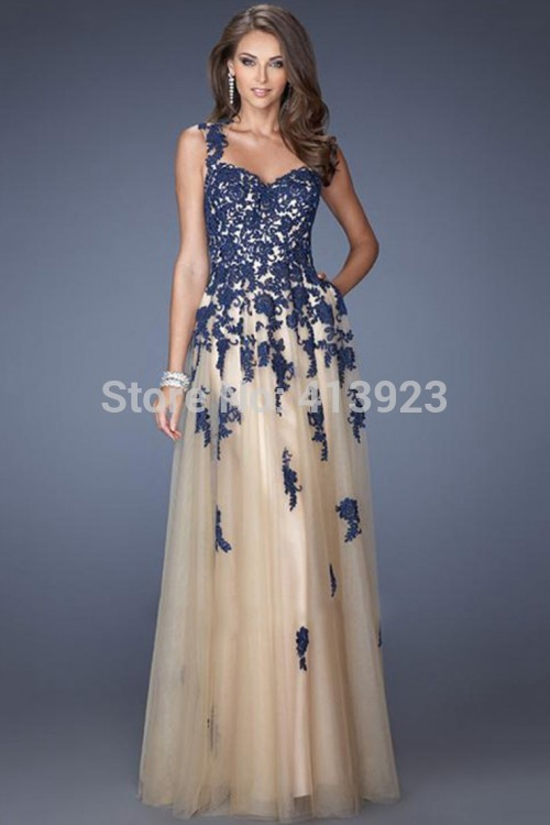 Aliexpress.com : Buy 2014 Tulle Prom Dress Straps Open Back Floor Length Lace Bodice With Applique from Reliable dress stain suppliers on Chaozhou City Xin Aojia dress Factory
