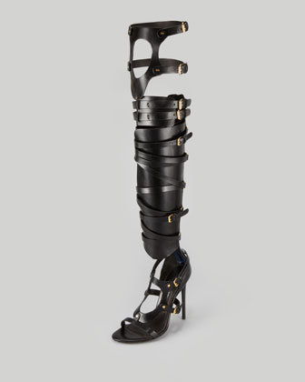 Tom Ford Strappy Buckled Sandal Boot, Black - Neiman Marcus