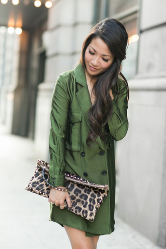 wendy's lookbook blogger pouch animal print green coat