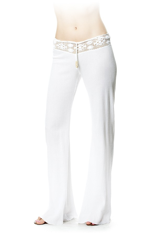 Yoga Pants Gauze White - Pants - Bottoms - Womens - shop online