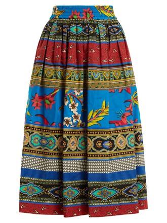 skirt midi skirt midi cotton print blue