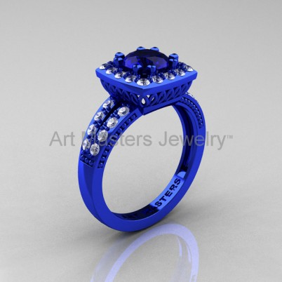 Renaissance classic 14k blue gold 1.0 carat blue sapphire diamond engagement ring r220