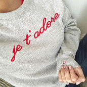 sweater,tumblr,valentines day,valentines day gift idea,embroidered,sweatshirt,grey sweater,nail polish,nails,pink nails