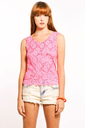 Femi Scallop Lace Vest in Neon Pink - Pop Couture