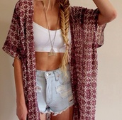 gold necklace,kimono,High waisted shorts,white crop tops,boho,summer outfits,pattern,coat,cardigan,jewels,shorts,top,red,floral,white,tribal cardigan,blouse