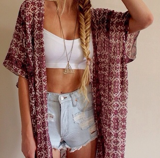 gold necklace kimono high waisted shorts white crop tops boho summer outfits pattern coat cardigan jewels shorts top red floral white tribal cardigan blouse