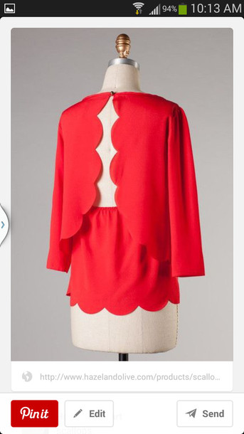 blouse red scalloped edges long sleeves open back split back shirt
