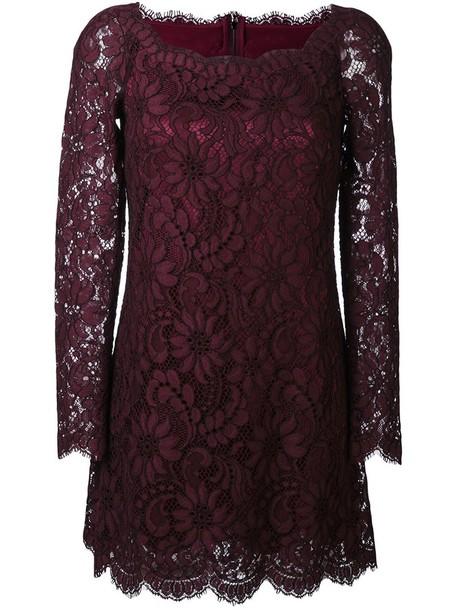 Dolce & Gabbana dress mini dress mini women lace floral cotton silk purple pink