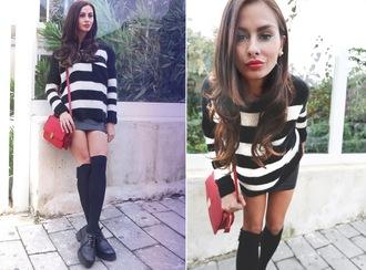 marie zamboli blogger red bag striped sweater knee high socks