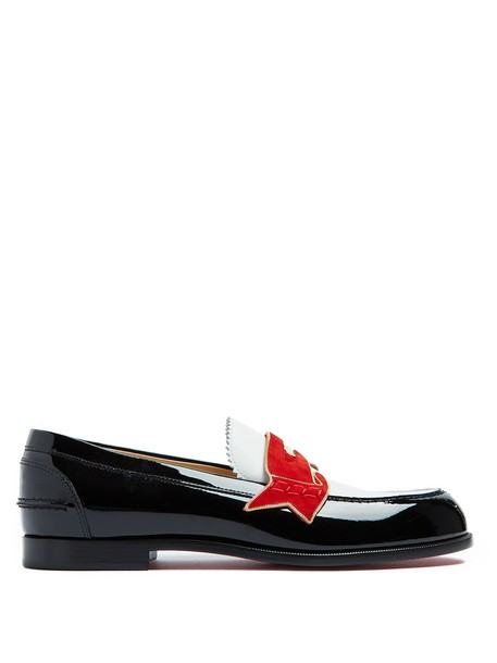 christian louboutin loafers leather black shoes