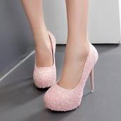 shoes,light pink,pink,glitter,sparkle,high heels,heels,fashion,pumps,platform shoes,fsjshoes