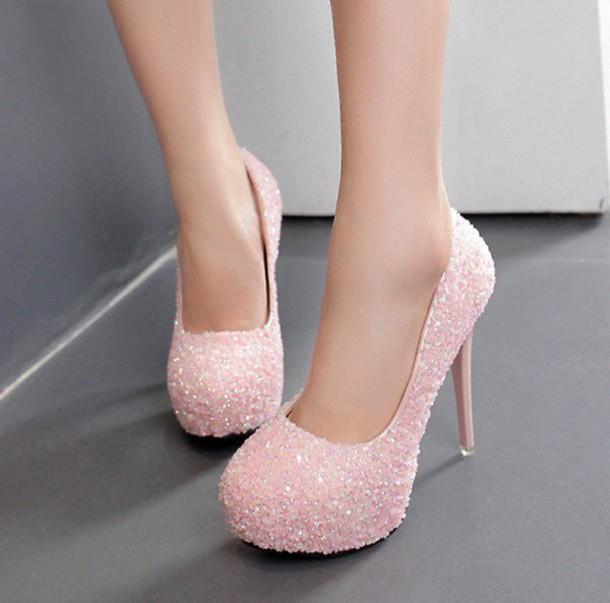 Light Pink Block Heel Shoes