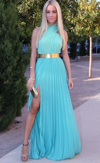Ariel long pleated blue gown
