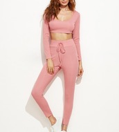 pink,crop,crop tops,cropped,girly,girl,girly wishlist,joggers,joggers pants,matching set