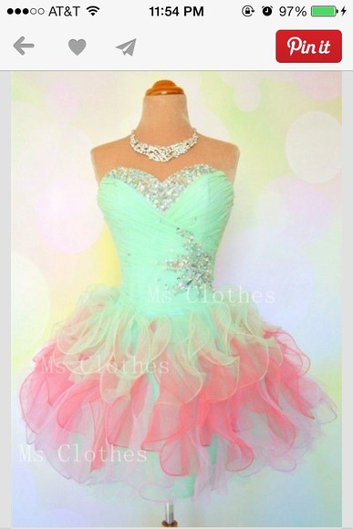 sea green dress dress pink, sparkles