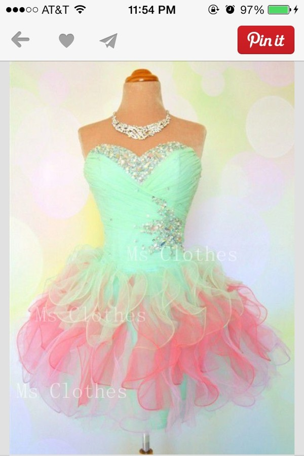 dress sea green dress pink sparkle
