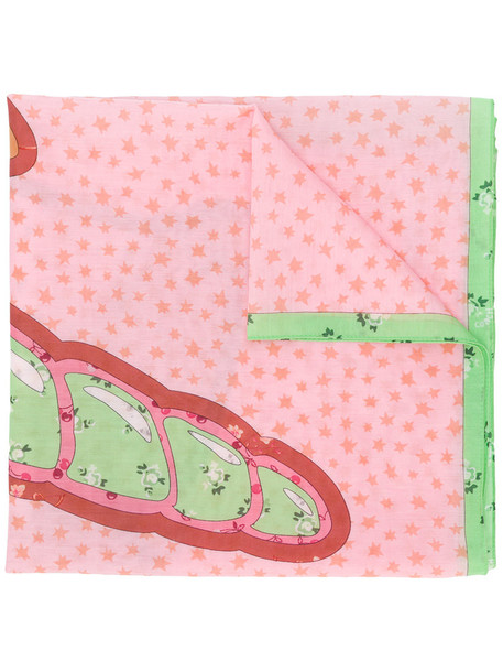 coach women scarf floral cotton print silk purple pink