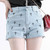 Light Blue Black Cross Class Style Denim Short  cute denim shorts