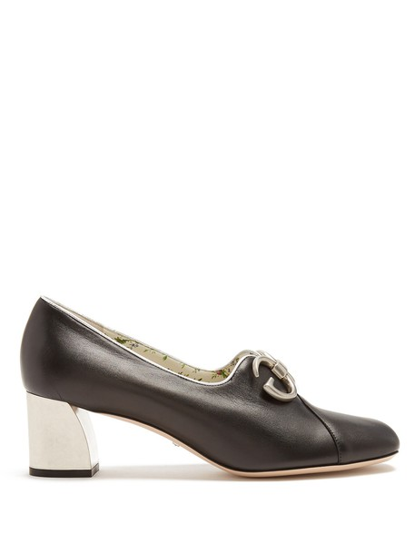 gucci pumps leather black shoes