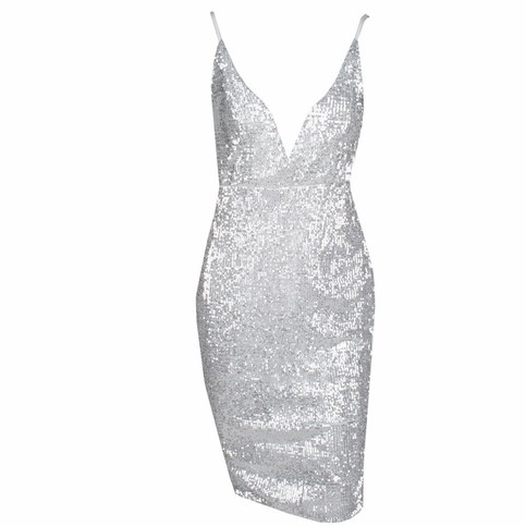 Silver Bodycon Sequins Dress on Storenvy