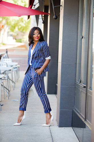 jadore-fashion blogger jacket pants t-shirt shoes bag jewels fall outfits blazer suit striped pants striped jacket white heels high heel pumps