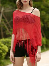top,gamis,mesh,see through,sexy,summer,red,denim,black,gamiss,cute,girly,trendy,off the shoulder,style