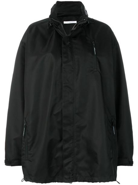 jacket windbreaker oversized embroidered women black