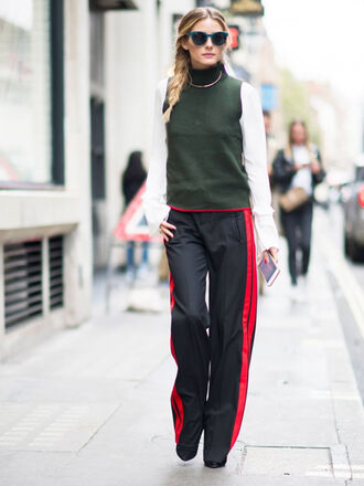 pants side stripe pants black pants tumblr wide-leg pants top sleeveless sleeveless top turtleneck shirt white shirt sunglasses blue sunglasses olivia palermo streetstyle