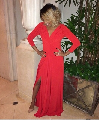 side split maxi dress orange dress long sleeve dress long maxi dress