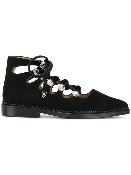 Toga Pulla women shoes lace leather suede black