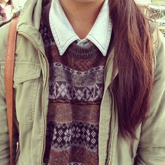 sweater knit kaki camouflage pretty jeans jean vest jean top green vest jacket winter outfits winter sweat winter top bag leather bag brut brown leather bag brown brown pattern brown top denim crop top bralette skater skirt brown suede tank top brown combat boots coat