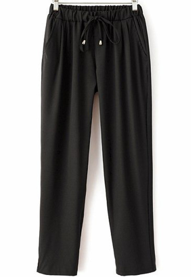Black Drawstring Waist Pockets Loose Pant - Sheinside.com