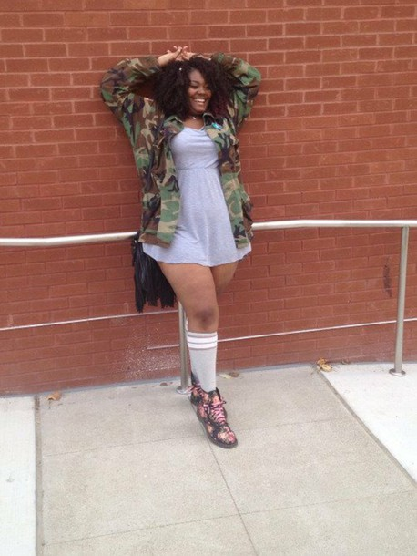 coat plus size curvy xxl swag military print