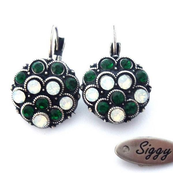 92af52d71 jewels siggy jewelry swarovski cluster earrings drop earrings emerald green  dangle earrings white opal peacock earrings